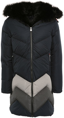 Perfect Moment Oversized Faux Fur-trimmed Striped Hooded Down Ski Jacket