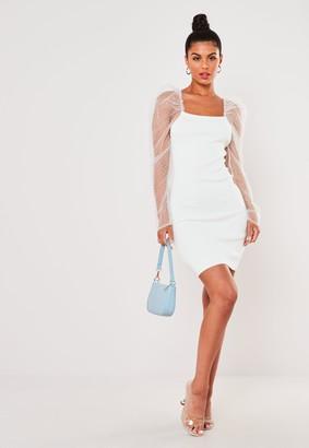 Missguided White Organza Sleeve Bodycon Mini Dress