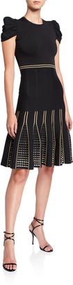 Shoshanna Elenna Metallic Dot Jacquard Pleated Hem Dress