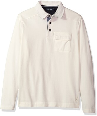 Nautica Men's Standard Long Sleeve Heavy Weight Jersey Polo Shirt with Chest Pocket
