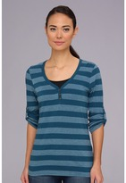The North Face L/S Spring Hill Striped Knit (Prussian Blue Stripe) - Apparel