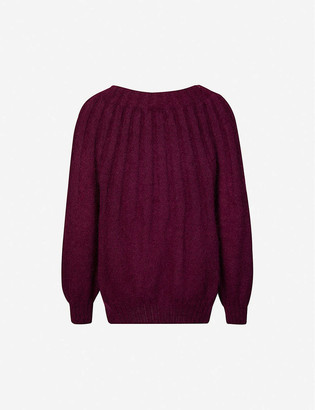 Alberta Ferretti Scoop-neck mohair-blend jumper