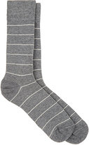 Barneys New York MEN'S STRIPED COTTON-BLEND MID-CALF SOCKS