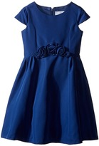 Us Angels Silk Taffeta Cap Sleeve Dress w/ Flower Trim (Toddler/Little Kids)