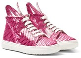 Minna Parikka Pink and Silver Star Leather Bunny Hi-Top Trainers