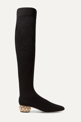 Rene Caovilla Grace Embellished Cashmere Over-the-knee Boots - Black