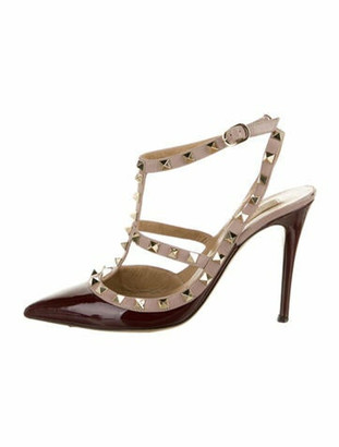 Valentino Rockstud Accents Patent Leather T-Strap Pumps