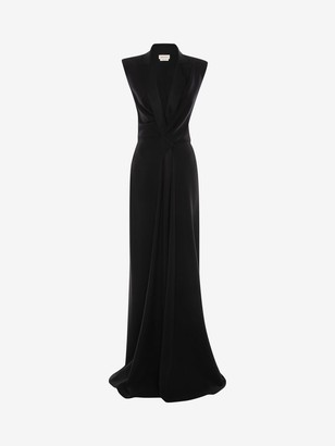 Alexander McQueen Tuxedo Drape Evening Dress