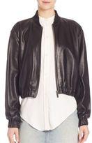Helmut Lang Cropped Lamb Leather Bomber Jacket