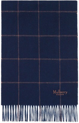 Mulberry Small Windowpane Check Lambswool Scarf Navy and Camel Lambswool
