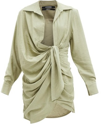 Jacquemus Bahia Knotted Twill Shirt Dress - Light Green