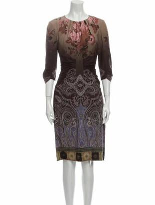 Etro Silk Knee-Length Dress Brown