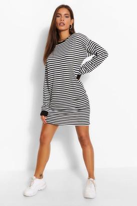 boohoo Striped Contrast Detail T-Shirt Dress