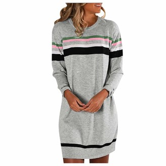 Kalorywee Coats KaloryWee Womens Fashion Striped Long Sleeve Tops Loose Casual Fluff Knit Sweater Dress Above Knee Dressses Gray