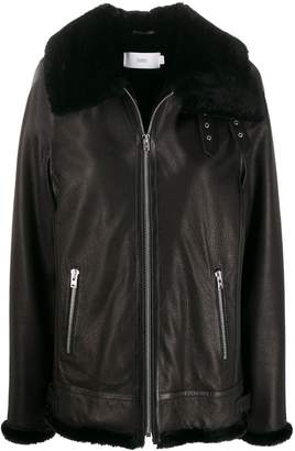 Closed faux-fur trim leather jacket