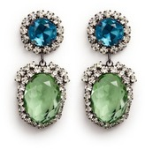 Kenneth Jay Lane Glass crystal pavé oval drop clip earrings