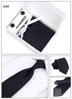PAHALA Mens Fashion Necktie Cufflinks Tie Bar Pocket Square Set Box