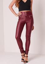 Missy Empire Dulce Wine Leather Skinny Biker Jeans