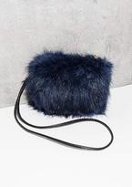 Missy Empire Fay Navy Faux Fur Fluffy Bag