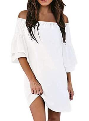 Actloe Women Off Shoulder 3/4 Bell Sleeve Solid Shift Dress Causal Tunic Dress