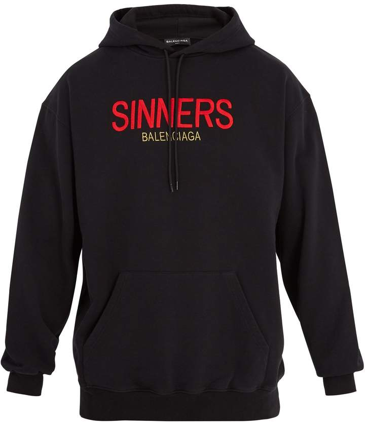 Balenciaga Sinners-embroidered hooded cotton sweatshirt