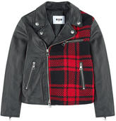 MSGM Leather and tartan biker jacket