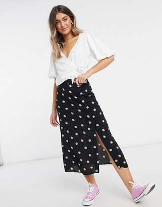 Nobody's Child midi skirt with button down side in shell print coord
