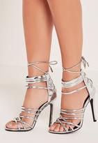 Missguided Metallic Heeled Strappy Gladiator Heels Silver
