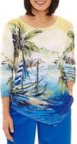 Alfred Dunner Corsica 3/4 Sleeve Crew Neck T-Shirt-Womens