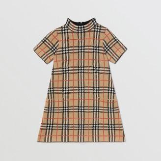 Burberry Childrens Check Merino Wool Jacquard Dress