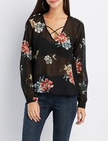 Charlotte Russe Floral Printed Caged Blouse