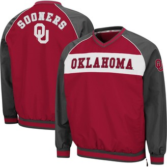 Colosseum Men's Crimson Oklahoma Sooners Marshgammon Windbreaker V-Neck Raglan Pullover Jacket