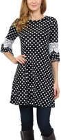 Celeste Black Dot Lace-Sleeve Tunic