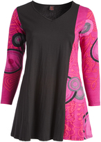 Aller Simplement Black & Rose Abstract Shift Dress - Plus