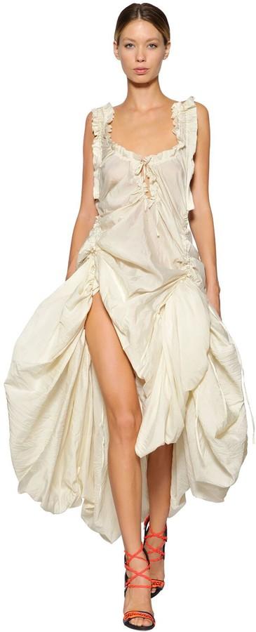 DSQUARED2 Adjustable Draped Silk Voile Dress