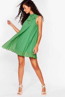 Nasty Gal Womens 'Til We Pleat Again High Neck Mini Dress - Green - 4