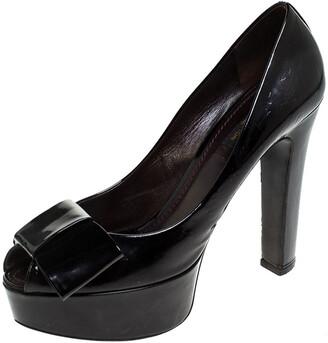 Louis Vuitton Black Monogram Vernis True Peep Toe Platform Pumps Size 38.5