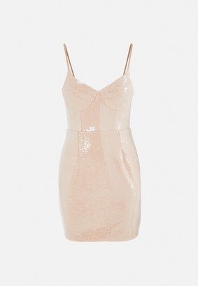 Missguided Nude Sequin Bust Cup Cami Mini Dress
