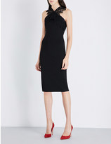 David Koma Geometric-lace and stretch-crepe midi dress