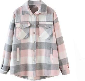 Femereina Womens Check Fleece Jacket Shacket Oversize Baggy Shirt Top Ladies Long Sleeve Shirt Top Coat Tunic (Grey Pink XS)