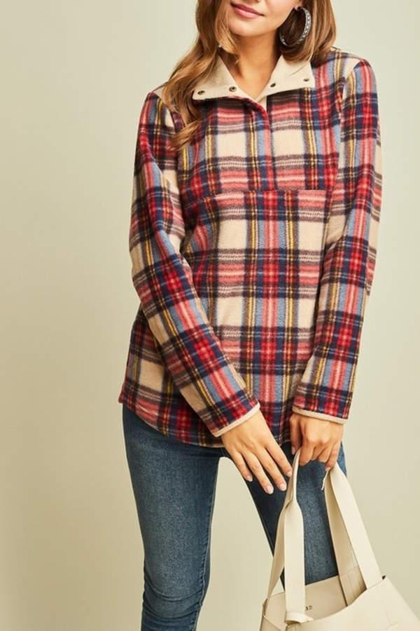 Entro Plaid Perfect fleece pullover