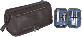 Ben Sherman Drop-Bottom Travel Kit with 6-PieceGrooming Set