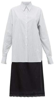 MM6 MAISON MARGIELA Pinstriped Cotton And Satin Shirtdress - Womens - White Multi