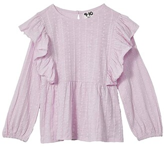 Cotton On Juno Long Sleeve Frill Top (Toddler/Little Kids/Big Kids) (Lavender Fog) Girl's Clothing