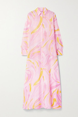Emilio Pucci Oversized Printed Cotton And Silk-blend Maxi Shirt Dress - Baby pink