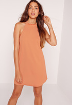 Missguided Silky Lace Back Swing Dress Nude