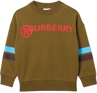 BURBERRY KIDS Stripe Print Cotton Sweatshirt
