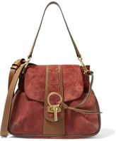 Chloé Lexa Studded Leather-trimmed Suede Shoulder Bag - Brick