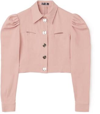 Bogdar Denim Jacket With Puff Shoulders Pink