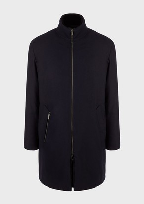Giorgio Armani Wool And Cashmere Trench With Padding